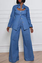 The cowboy blue Casual Solid Hollowed Out Turndown Collar Long Sleeve Two Pieces