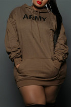 Brown Fashion Casual Letter Print Basic Hooded Collar Long Sleeve Plus Size Dresses