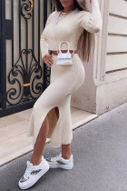 White Fashion Street Solid Slit O Neck Long Sleeve Two Pieces
