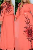 Pink Casual Print Split Joint O Neck Cake Skirt Plus Size Dresses
