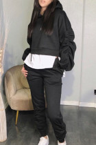 Black Casual Solid Split Joint Fold Asymmetrical Hooded Collar Long Sleeve Two Pieces