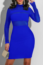 Colorful Blue Fashion Sexy Solid Split Joint O Neck One Step Skirt Dresses
