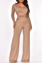 Khaki Fashion Sexy Solid Hollowed Out Square Collar Jumpsuits