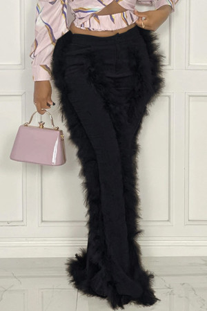 Black Fashion Solid Split Joint Feathers Boot Cut High Waist Speaker Solid Color Bottoms