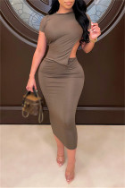 Khaki Sexy Casual Solid Hollowed Out O Neck Short Sleeve Dress Dresses