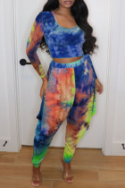 Blue Fashion Casual Tie Dye Printing U Neck Long Sleeve Two Pieces