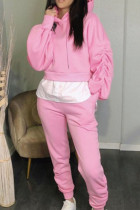Pink Casual Solid Split Joint Fold Asymmetrical Hooded Collar Long Sleeve Two Pieces