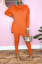 Tangerine Red Casual Solid Split Joint Half A Turtleneck Long Sleeve Two Pieces