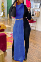 Blue Fashion Casual Solid Slit Turtleneck Sleeveless Dress (Without Waist Chain)