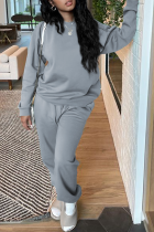 Grey Casual Solid Split Joint O Neck Long Sleeve Two Pieces