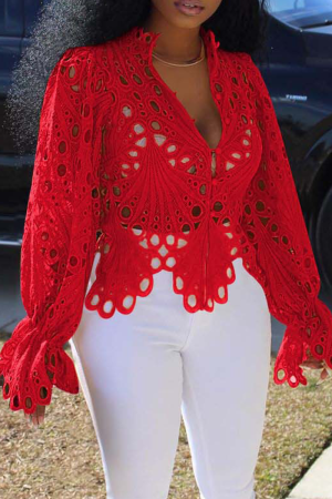 Red Sexy Solid Hollowed Out V Neck Tops