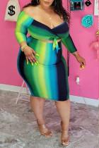 Dark Blue Fashion Sexy Striped Split Joint V Neck One Step Skirt Plus Size Dresses