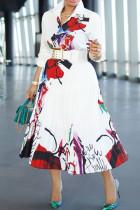 White Elegant Print Split Joint Buckle Fold Without Belt Turndown Collar A Line Dresses