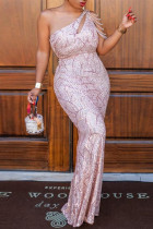 Pink Sexy Plus Size Patchwork Sequins Backless One Shoulder Evening Dress