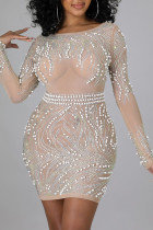 Apricot Sexy Solid Split Joint See-through Backless Beading Hot Drill O Neck One Step Skirt Dresses