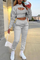 Light Gray Casual Street Solid Split Joint Hooded Collar Long Sleeve Three Pieces