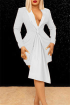 White Fashion Casual Solid Split Joint Turndown Collar Long Sleeve Two Pieces