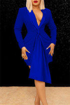 Blue Fashion Casual Solid Split Joint Turndown Collar Long Sleeve Two Pieces