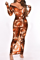 Tangerine Red Sexy Print See-through High Opening Off the Shoulder Pencil Skirt Dresses