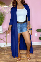 Blue Fashion Casual Solid Cardigan Long Sleeve Outerwear