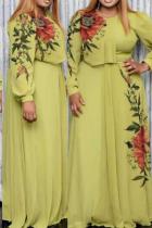 Green Casual Print Split Joint O Neck Cake Skirt Plus Size Dresses
