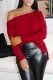 Red Casual Solid Hollowed Out Split Joint Asymmetrical Oblique Collar Tops