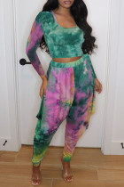 Green Fashion Casual Tie Dye Printing U Neck Long Sleeve Two Pieces