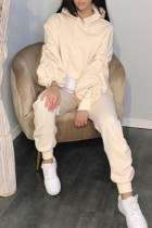 Beige Casual Solid Split Joint Fold Asymmetrical Hooded Collar Long Sleeve Two Pieces