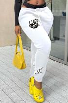 White Fashion Casual Print Basic Regular Mid Waist Trousers