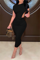 Black Sexy Casual Solid Hollowed Out O Neck Short Sleeve Dress Dresses