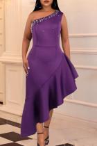 Purple Fashion Sexy Solid Beading One Shoulder Irregular Dresses