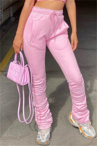 Pink Fashion Casual Solid Fold Regular High Waist Trousers