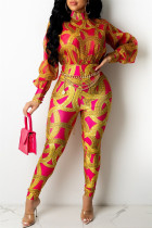 Red Fashion Casual Print Split Joint Turtleneck Regular Jumpsuits (Without Waist Chain)