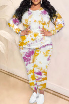 Yellow Fashion Casual Tie Dye Printing O Neck Plus Size Two Pieces