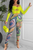Yellow Fashion Sexy Print Split Joint Square Collar Long Sleeve Two Pieces