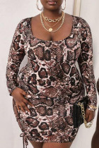 Brown Fashion Sexy Leopard Hollowed Out U Neck One Step Skirt Plus Size Dresses