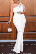 White Sexy Plus Size Patchwork Sequins Backless One Shoulder Evening Dress