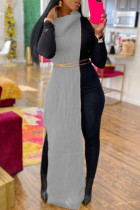 Grey Fashion Casual Solid Slit Turtleneck Sleeveless Dress (Without Waist Chain)