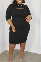 Black Sexy Solid Hollowed Out Split Joint O Neck One Step Skirt Plus Size Dresses