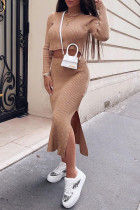 Khaki Fashion Street Solid Slit O Neck Long Sleeve Two Pieces