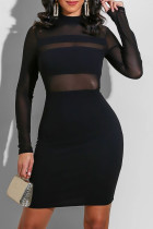 Black Fashion Sexy Solid Split Joint O Neck One Step Skirt Dresses