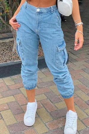 Baby Blue Fashion Street Solid Split Joint Mid Waist Denim Jeans