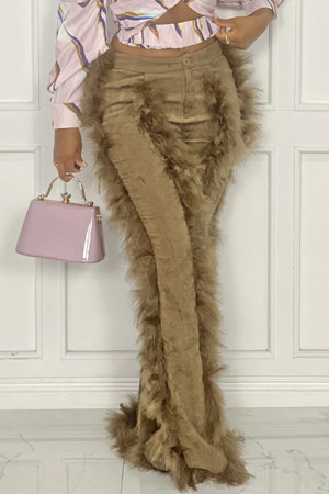 Khaki Fashion Solid Split Joint Feathers Boot Cut High Waist Speaker Solid Color Bottoms