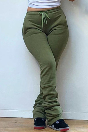 Army Green Fashion Casual Solid Fold Regular High Waist Trousers