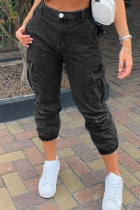 Black Fashion Street Solid Split Joint Mid Waist Denim Jeans