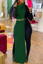 Green Fashion Casual Solid Slit Turtleneck Sleeveless Dress (Without Waist Chain)