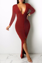Red Sexy Casual Solid Backless Slit V Neck Long Sleeve Dresses