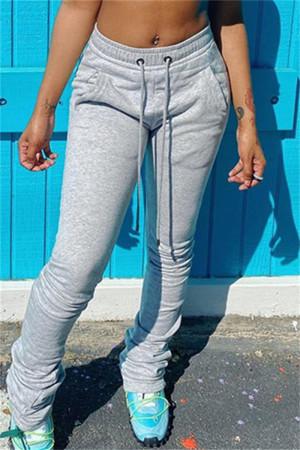Grey Fashion Casual Solid Fold Regular High Waist Trousers