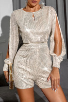 Silver Fashion Casual Solid Sequins O Neck Jumpsuits