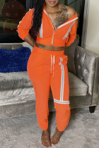 Orange Fashion Casual Patchwork Zipper Hooded Collar Long Sleeve Two Pieces